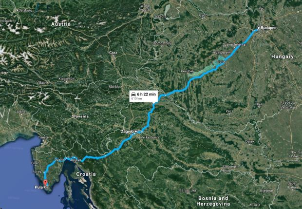 Budapest to Pula map