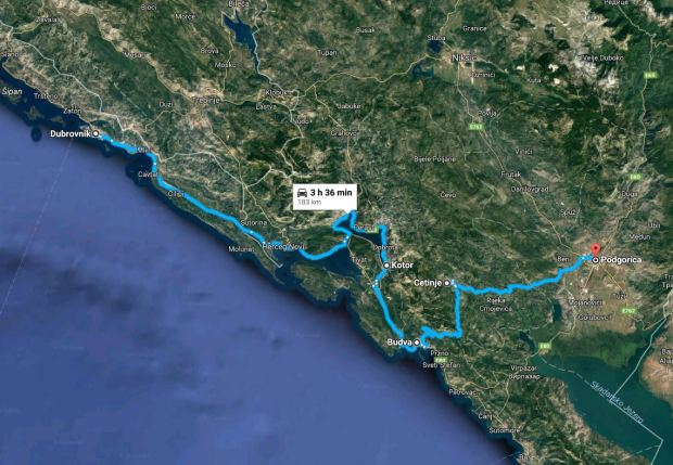 Dubrovnik to Podgorica map