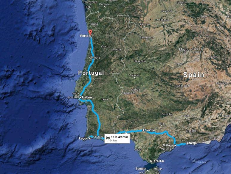 Malaga to Porto map
