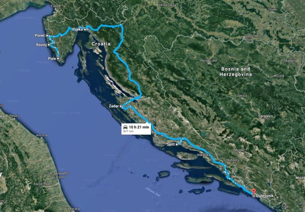 Pula to Dubrovnik map