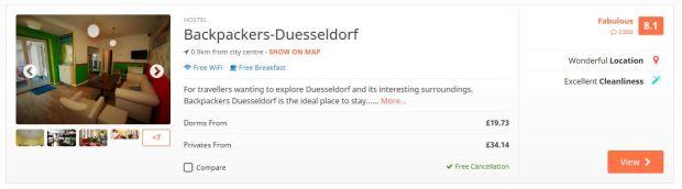 Dusseldorf hostel example