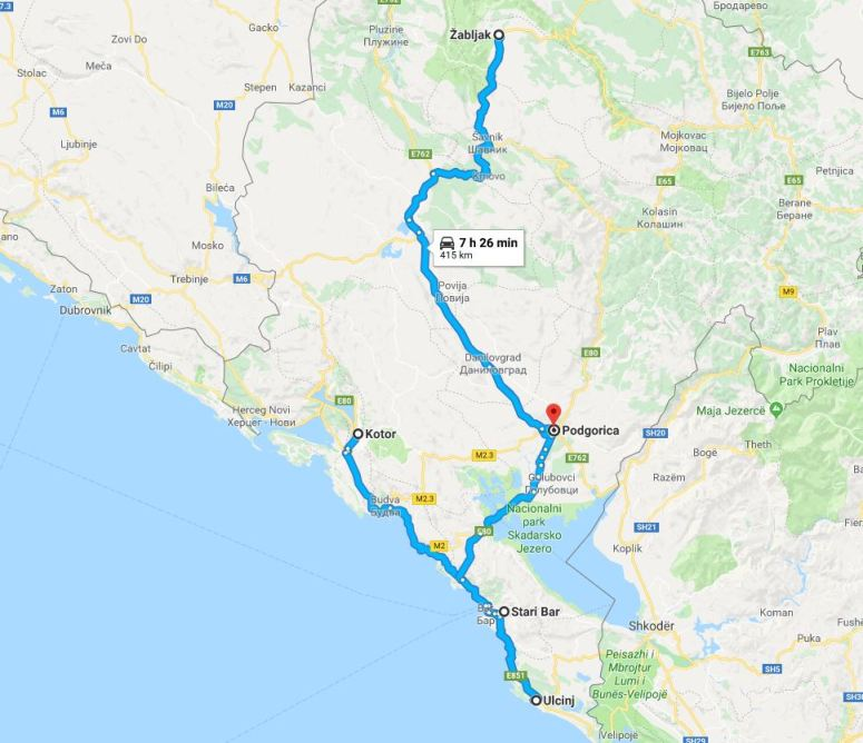 montenegro route