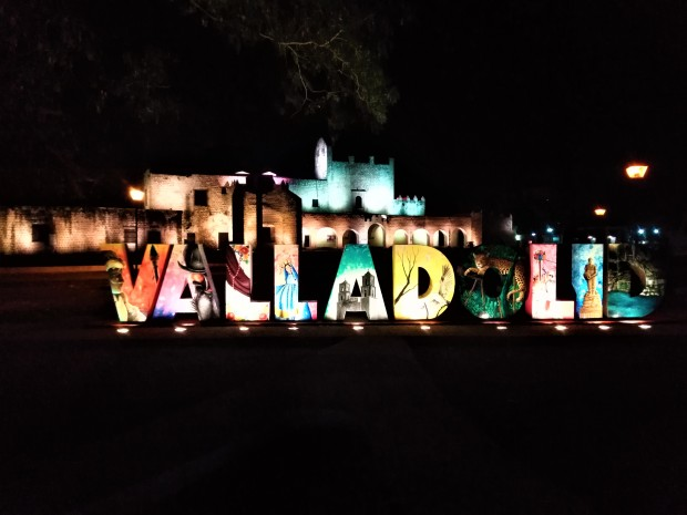 Mexico Valladolid Light Show Sign